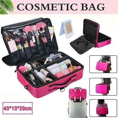 Professional Makeup Bag Portable Cosmetic Case Storage Box Handle Organizer Kit