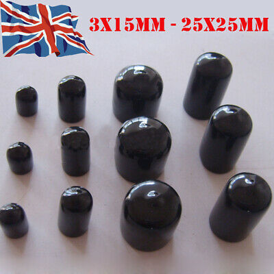 3-25mm PVC Black Rubber Round End Caps Thread Cover Pipe Plastic Tube Protec WCS