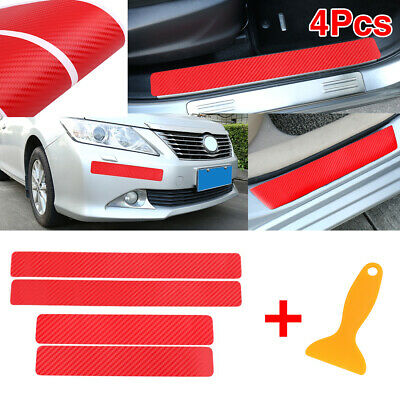 4pcs 3D Red Carbon Fiber Pattern Car Door Plate Anti Scratch Cover Sticker
