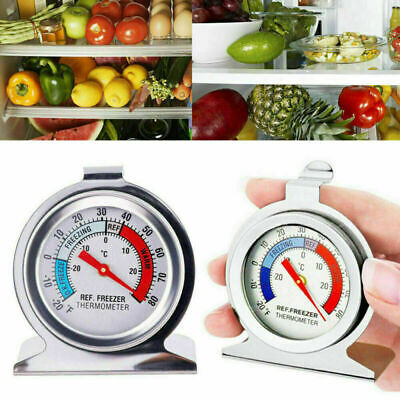 Stainless Refrigerator Freezer Thermometer DIAL Type Easy Hang Stand Kitchen New