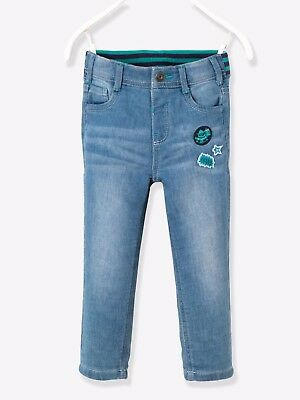 Vertbaudet Stylish Denim-Effect Fleece Trousers Blue Age 8 Years DH171 LL 07