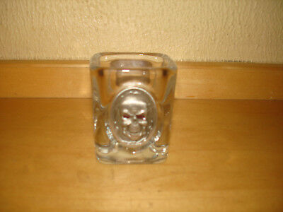 """Shot Glass With Pewter Skull Emblem 2 1/2"""" X 2 1/2"""" X 2"""" X 2"""" Weighs 7.2 Oz."""