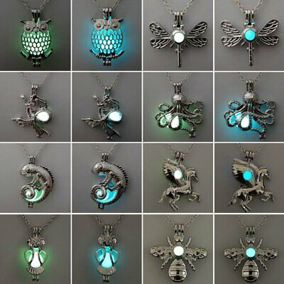 Cute Owl Horse Hollow Luminous Glow In The Dark Pendant Necklace Lady Jewellery