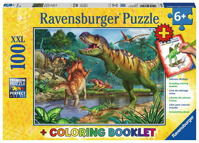 100 Teile Ravensburger Kinder Puzzle XXL Coloring Booklet Dinosaurier 13695