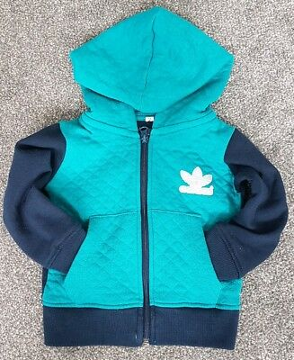 Adidas Boys 24 Months 2 Years Jacket Hoodie Blue Navy Green Silver Free Delivery