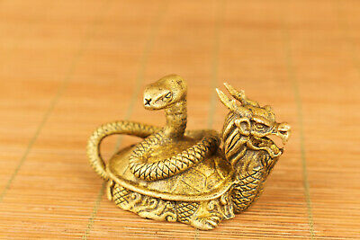 old bronze hand carved tortoise snake statue pendant netsuke collectable