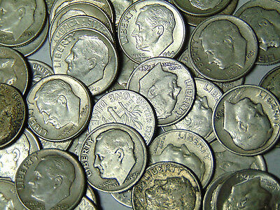 Roll of 50 Roosevelt Silver Dimes 1940s-1950s-1960s $5 Face Value 90% Silver
