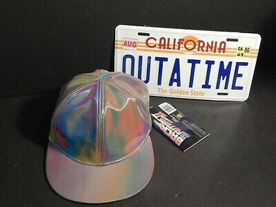 Back to the Future Marty McFly Hat & Outatime Delorean  Licence Plate Movie Lot