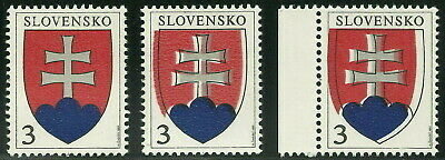 Slovakia 1993 Independence 3K Slovak Arms Group with Printing Shifts VF MNH!