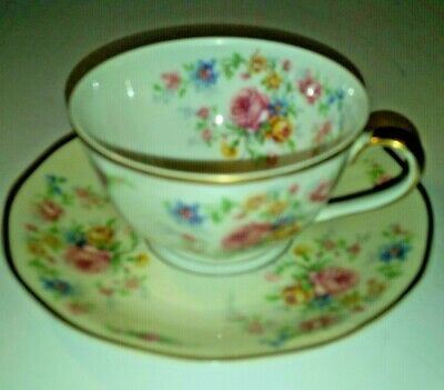 Vintage Theodore Haviland Limoges FRANCE>CUP&SAUCER>Roses Chalfonte>10 available