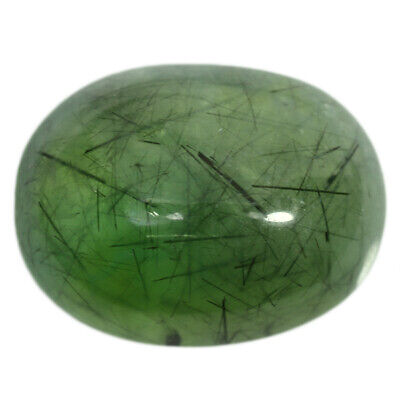 59.6Cts Natural Green Prehnite Rutile Brazil Cabochon Gemstone Free Shipping