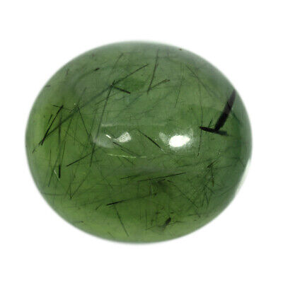 41.6Cts Natural Green Prehnite Rutile Brazil Cabochon Gemstone Free Shipping