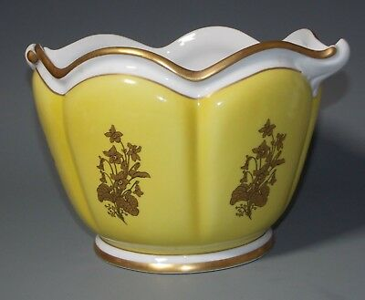 Mottahedeh Coimbra Portugal Yellow White Cachepot Planter Jardiniere Gold Orchid