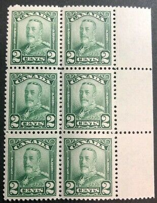 Stamp Vault Canada #150 Block 6 with Salvage - MNH - 2c King George V Scroll