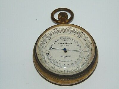 Antique T.w Watson Pall Mall Pocket Compensated Barometer Thermometer Altimeter