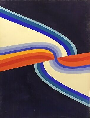 ARLETTE MARTIN (b.1924) 1970's SUPERB FRENCH GEOMETRIC ABSTRACT PAINTING -