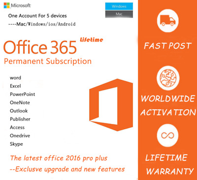 MICROSOFT OFFICE 365 PRO PLUS 2016/2019✔️Licenza per 5 PC✔5TB Cloud✔️+OMAGGIO