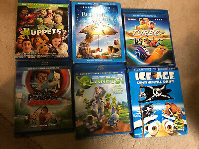 Lot of 6 USED Children's Blu Ray Movies /BLU_RAy only No DVD ,NO DIGITAL