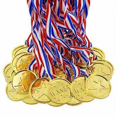 12 x KIDS SCHOOL SPORTS DAY PARTY TEACHER WINNER GOLD PLASTIC MEDALS & LANYARDS