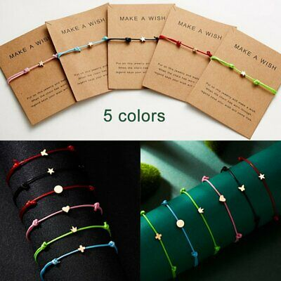 Fashion Friendship Heart Star Rope Bracelets Bangle Couple Card Jewelry Gift Hot