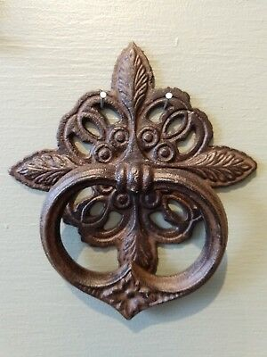 French Country Cottage door knocker ~ cast iron ~ rust filigree knot home garden