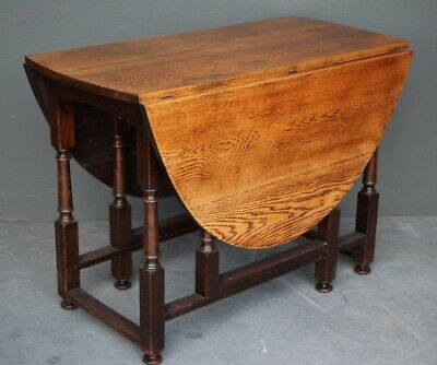 Antique English Georgian blonde oak gate leg dining table seats 6 height 77cm