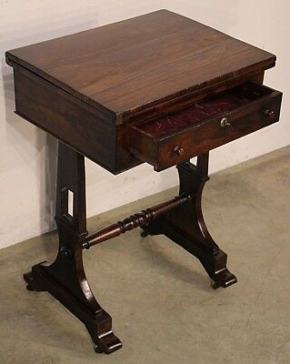 Antique Brazilian rosewood Regency fold over games table original 1820 bedside