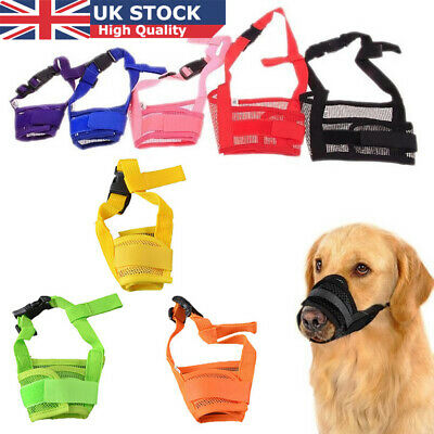 Nylon Adjustable ANTI Biting Bark DOG SAFETY MUZZLE Large Breathable Mesh UK