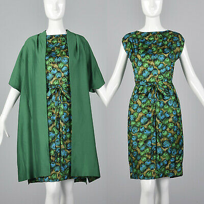 f388810eb3f Small 1960s Green Silk Dress and Swing Jacket Set Vintage 1950s Abstract  Print