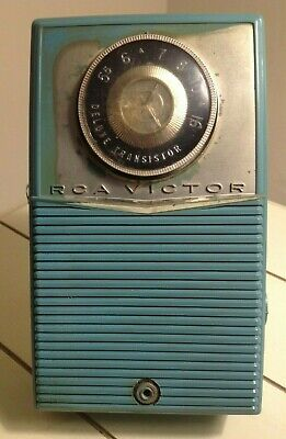 Vintage 1960 Blue Rca Victor Deluxe 1T4H Transistor Radio + Swing Handle Stand