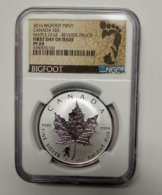2016 Canadian Silver Maple Leaf Reverse Proof Bigfoot  Privy First Day Ngc Pf69