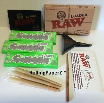 RAW Cone LOADER and SMIZZLE 18 Pre-Rolled Organic Hemp Cones, JACK (83mm)