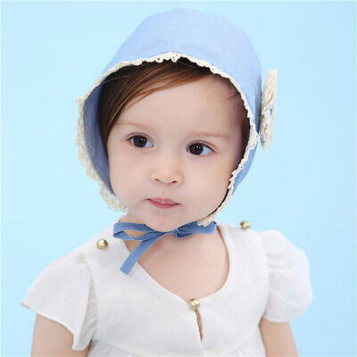 NEW Toddler Denim Blue Kids Baby Cap Stretchy Cotton Spring Flower Striped Hat L