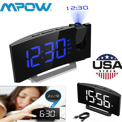 Mpow LED Snooze Alarm Clock Dimmer Sleep Timer Projector FM Radio Projection US