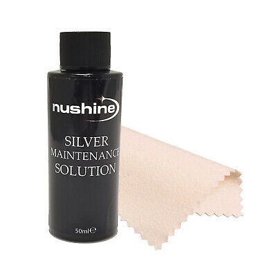 1.69oz(50ml) Nushine Silver Maintenance Solution Bottle & Polishing Cloth in USA