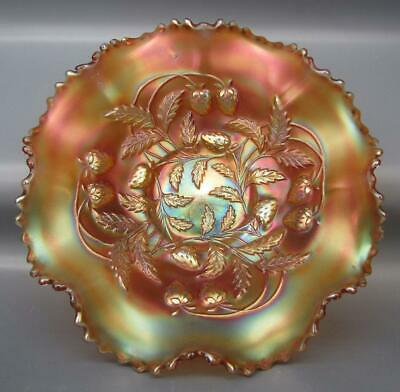 "Northwood STRAWBERRY Marigold Carnival Glass Ruffled 9"" Bowl 5205"