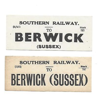 SR, Southern Railway Luggage Labels x2. Berwick Railway Station, Sussex.