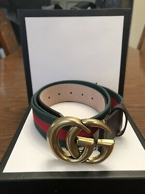 "3ac4698987b GREEN RED DOUBLE G Gold Buckle Gucci Belt 42"" 105cm (Size 38 ..."