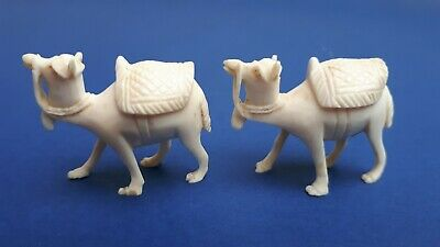 Pair Art Deco Chinese Intricately Carved Celluloid Bone Camel Miniature Figures