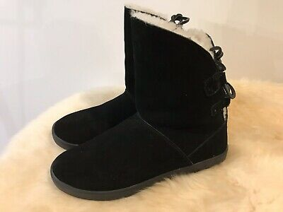 6bf2a357ffd7 Koolaburra by UGG Shazi Short Boots Sz 8 Black Water Resisant Suede Fur  Lined