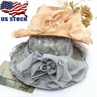 4943346c49dab Retro Spinning Women Girl Wide Brim Sun Hat Wedding Tea Party Church Cap Lot