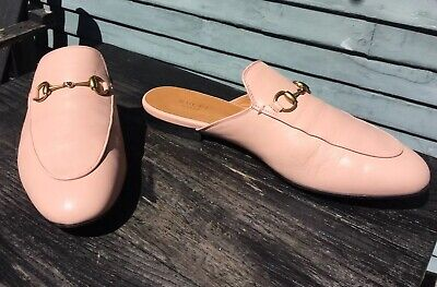 fbd33e020 Gucci Princetown Mule Loafer Light Pink Leather Gold Hardware Women Sz 39.5