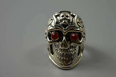 Chinese Collectable Miao Silver Carve Skull Head Inlay Agate Magic Summon Rings