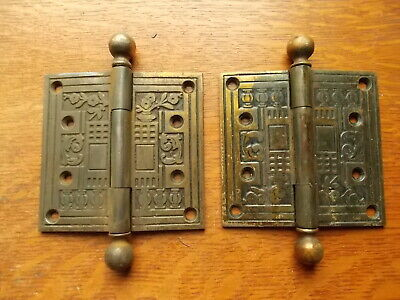 "Two Antique Fancy Victorian Eastlake Brass-Plated Cast Iron Door Hinges 4"" x 4"""