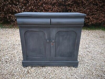 Lightly Distressed Solid Pine Chiffonier Server Sideboard Graphite Annie Sloan