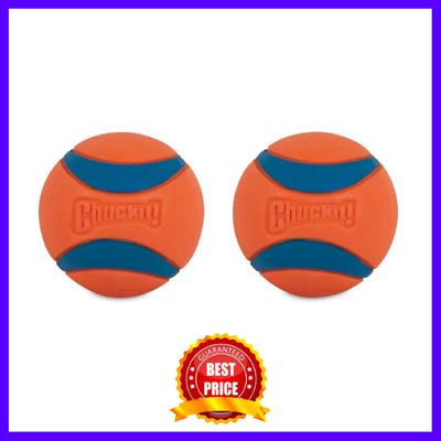 New 2-Pack Chuckit Ultra Dog Ball Bounces and Floats Bright Orange & Blue Medium