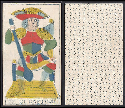 Tarot Spielkarte Original 18th century playing card carte a jouer Be di Bastoni