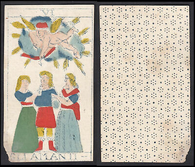 Original 18th century playing card carte a jouer Spielkarte Tarot Gli Amanit