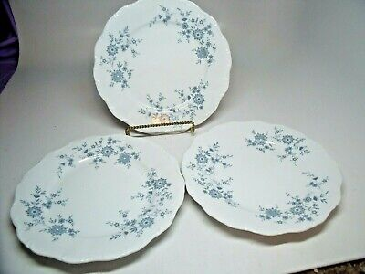 3 BAVARIAN BLUE CHRISTINA Porcelain Seltmann Weiden W. Germany Dinner Plates #1