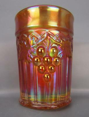 "Northwood GRAPE & GOTHIC ARCHES Dark Marigold Carnival Glass 4"" Tumbler 6061"